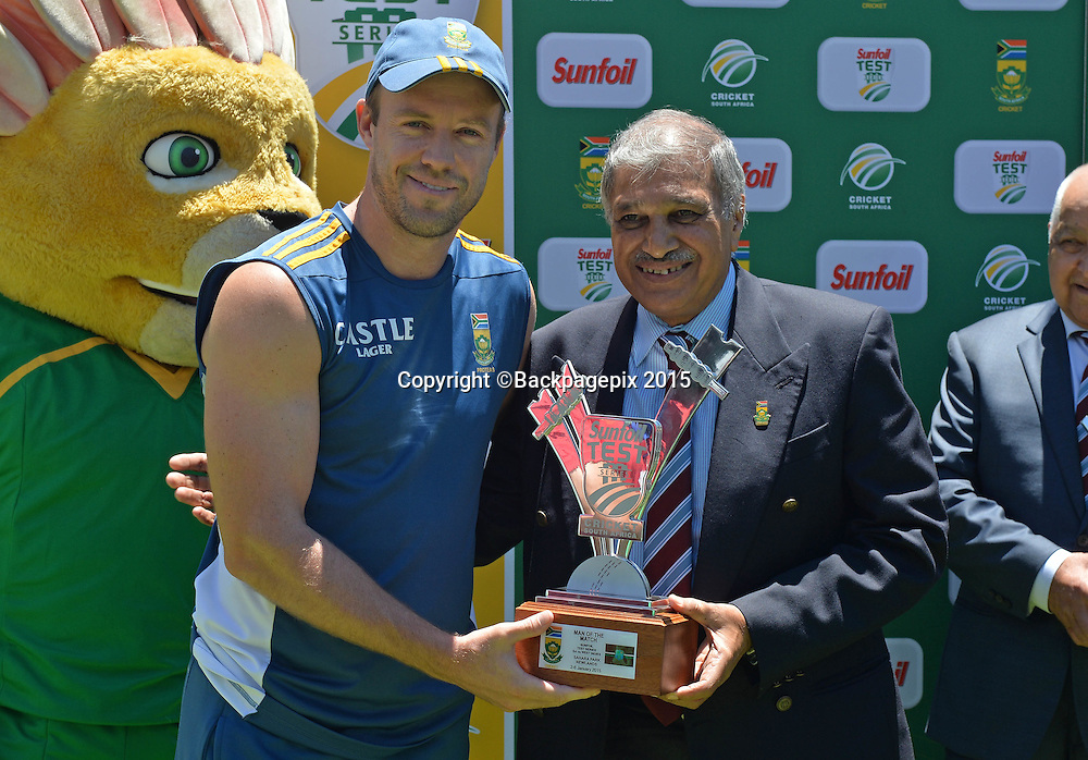 AB de Villiers of South Africa, Man of the Match during Day 5 of the 2015 Sunfoil Test Series Cricket Match between South Africa and the West Indies at Newlands Stadium, Cape Town on 5 January 2015 ©Chris Ricco/BackpagePix