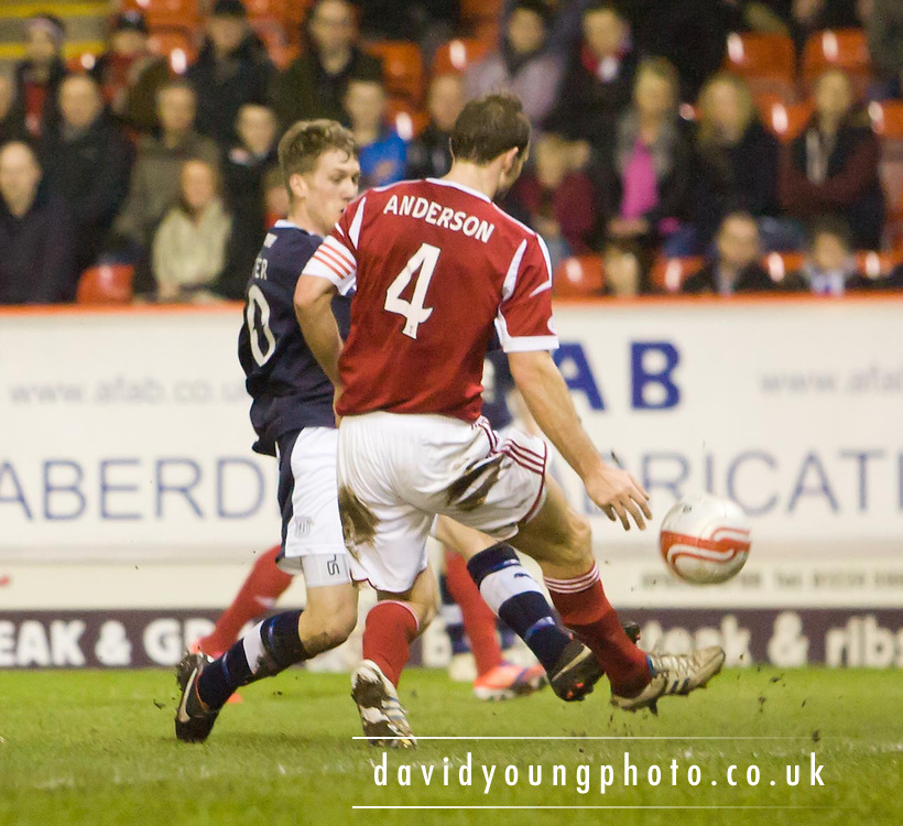 Dundee's Jim McAlister fires in a shot which hit the bar - Aberdeen v Dundee, Clydesdale Bank Scottish Premier League at Pittodrie .. - © David Young - www.davidyoungphoto.co.uk - email: davidyoungphoto@gmail.com