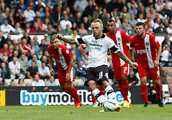 Derby County's Johnny Russell scores his goal from the penalty spot  - Photo mandatory by-line: Matt Bunn/JMP - Tel: Mobile: 07966 386802 04/08/2013 - SPORT - FOOTBALL -  Pride Park Stadium - Derby -  Derby County v Blackburn Rovers - Sky Bet Championship