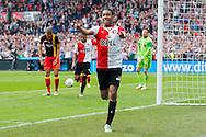 ROTTERDAM, Feyenoord - Go Ahead Eagles, voetbal Eredivisie, seizoen 2013-2014, 30-03-2014, Stadion de Kuip, Feyenoord speler Jean-Paul Boetius (M) heeft de 3-0 gescoord, Go Ahead Eagles speler Mawouna Amevor (L) en Go Ahead Eagles keeper Stephan Andersen (R) zijn teleurgesteld.