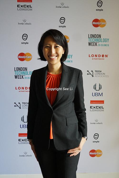 London,England,UK : 20 th June 2016 : Dr. Julia Fan Li at the London Technology Week 2016 opening press day at The Yard,Worship Street, London. Photo by See Li