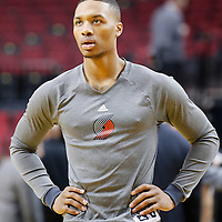 02 December 2013: Portland Trail Blazers point guard Damian Lillard (0) warms up prior to the Portland Trail Blazers 106-102 victory over the Indiana Pacers at the Moda Center, Portland, Oregon, USA.