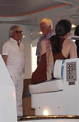 03.08.2013, Sibenik, CRO, Bernie Ecclestone ist im Urlaub an der kroatischen Kueste, im Bild Bernie Ecclestone and his wife Fabiano Flos and the Company entered into the port of Sibenik on the yacht Peter // during a on vacation on the Croatian coast from Bernie Ecclestone in Sibenik, croatia on 2013/08/03. EXPA Pictures &copy; 2013, PhotoCredit: EXPA/ Pixsell/ Dusko Jaramaz<br /> <br /> ***** ATTENTION - for AUT, SLO, SUI, ITA, FRA only *****