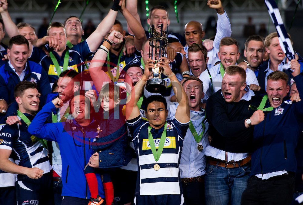 Bristol Rugby Winger David Lemi (capt) lifts the Greene King IPA Championship trophy as Bristol Rugby win promotion to the Aviva Premiership - Mandatory byline: Joe Meredith/JMP - 25/05/2016 - RUGBY UNION - Ashton Gate Stadium - Bristol, England - Bristol Rugby v Doncaster Knights - Greene King IPA Championship Play Off FINAL 2nd Leg.