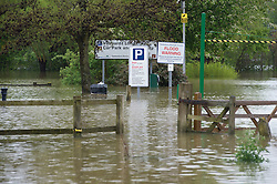 © London News Pictures. 01/05/2012. Tewkesbury, UK. A flooded public car park in  Tewkesbury, Gloucestershire on May 1, 2012. The UK has had its wettest April in over a century, with some areas seeing three times their usual average rainfall, according to figures from the Met Office. Photo credit : Ben Cawthra /LNP