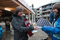 The House of Switzerland in Whistler hands out Hug biscuits as part of a promotion to introduce Swiss culture to visitors during the 2010 Olympic Winter Games in Whistler, BC