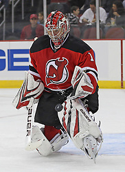 Nov 5, 2010; Newark, NJ, USA;  New Jersey Devils goalie Johan Hedberg (1) makes a pad save during the second period of their game against the New York Rangers at the Prudential Center.