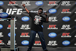 October 7, 2011; Houston, TX.; USA;  UFC site coordinator Burt Watson gets the crowd ready for the UFC 136 weigh-ins at the Toyota Center in Houston.