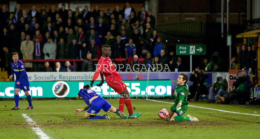 KINGSTON-UPON-THAMES, ENGLAND - Monday, January 5, 2015: Liverpool's Mario Balotelli in action against AFC Wimbledon during the FA Cup 3rd Round match at the Kingsmeadow Stadium. (Pic by David Rawcliffe/Propaganda)