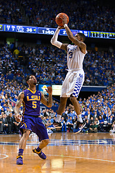 Kentucky guard Tyler Ulis shoots a pull-up jumper in the first half. <br /> <br /> The University of Kentucky hosted the LSU Tigers, Saturday, March 05, 2016 at Rupp Arena in Lexington .
