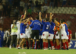 BELGRADE, SERBIA & MONTENEGRO - Wednesday, August 20, 2003: Serbia & Montenegro celebratre their 1-0 victory over Wales during the UEFA European Championship qualifying match at the Red Star Stadium. (Pic by David Rawcliffe/Propaganda)