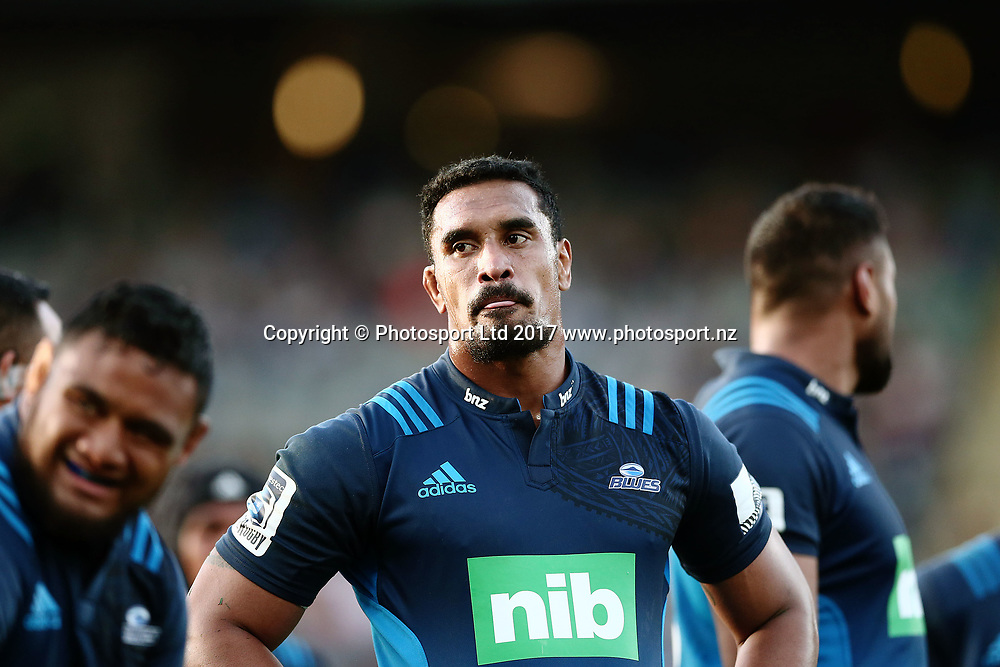 Jerome Kaino of the Blues looks on. Super Rugby match, Blues v Force at Eden Park, Auckland, New Zealand. 1 April 2017 © Copyright Photo: Anthony Au-Yeung / www.photosport.nz