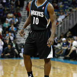 February 7, 2011; New Orleans, LA, USA; Minnesota Timberwolves point guard Jonny Flynn (10) against the New Orleans Hornets during the second quarter at the New Orleans Arena.   Mandatory Credit: Derick E. Hingle
