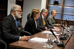 © Licensed to London News Pictures. 31/01/2017. London, UK. The Panel of The Independent Inquiry into Child Sexual Abuse (IICSA). (L-R): IVOR FRANK, Chair of the Inquiry Professor ALEXIS JAY OBE, Professor Sir MALCOM EVANS KCMG OBE and Drusilla Sharpling CBE. Today, IICSA held a preliminary hearing at the International Dispute Resolution Centre (IDRC), as part of its investigation into the protection of children outside the UK. Today's session comes ahead of a public hearing on the investigation's case study, due to be held on 27 February 2017.<br /> Photo credit : Tom Nicholson/LNP