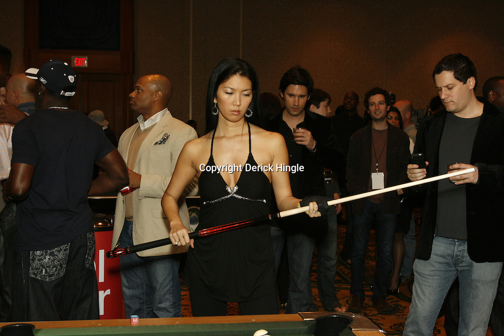Jennette Lee ponders her next shot at the Big Easy Billiard' Bash a celebrity pool tournament and party hosted by NFL Superstar Reggie Bush and NBA Superstar (SHAQ) Shaquille O'Neal at the Hilton Riverside Hotel in New Orleans, Louisiana on February 15th 2008.