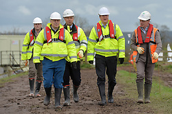David Cameron meets workmen dredging rivers in Somerset following floods earlier this year.<br /> Day 3 of Prime Minister David Cameron's regional tour. <br /> Friday 4th of April 2014. Picture by Ben Stevens / i-Images