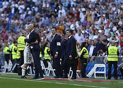 March 16, 2019 - Madrid, Madrid, Spain - Real Madrid CF's Isco Alarcon and Real Madrid CF's Zinedine Zidane are seen embracing during the Spanish La Liga match round 28 between Real Madrid and RC Celta Vigo at the Santiago Bernabeu Stadium in Madrid. (Credit Image: © Manu Reino/SOPA Images via ZUMA Wire)
