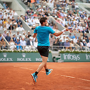 PARIS, FRANCE June 09.  Dominic Thiem of Austria in action against Rafael Nadal of Spain on Court Philippe-Chatrier during the Men's Singles Final at the 2019 French Open Tennis Tournament at Roland Garros on June 9th 2019 in Paris, France. (Photo by Tim Clayton/Corbis via Getty Images)
