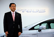 Akio Toyoda, Executive Vice President of Toyota Motor Corp., speaks in front of the company's third generation Prius hybrid car, which was unveiled at the automaker's showrooms in Tokyo, Japan on 18 May 2009.