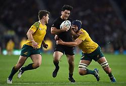 Nehe Milner-Skudder of New Zealand takes on the Australia defence - Mandatory byline: Patrick Khachfe/JMP - 07966 386802 - 31/10/2015 - RUGBY UNION - Twickenham Stadium - London, England - New Zealand v Australia - Rugby World Cup 2015 Final.