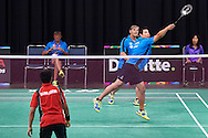 (L) SO Germany athlete Andrej Lamert and (R) SO Germany athlete Peter Wenzel in action against SO Bangladesh at badminton competition during seventh day of the Special Olympics World Games Los Angeles 2015 on July 31, 2015 at South Hall of Convention Centre  in Los Angeles, USA.<br /> <br /> USA, Los Angeles, July 31, 2015<br /> <br /> Picture also available in RAW (NEF) or TIFF format on special request.<br /> <br /> For editorial use only. Any commercial or promotional use requires permission.<br /> <br /> Adam Nurkiewicz declares that he has no rights to the image of people at the photographs of his authorship.<br /> <br /> Mandatory credit:<br /> Photo by © Adam Nurkiewicz / Mediasport
