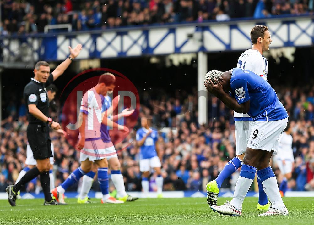 Everton's Arouna Kone reacts after his shot is saved - Mandatory byline: Matt McNulty/JMP - 07966386802 - 12/09/2015 - FOOTBALL - Goodison Park -Everton,England - Everton v Chelsea - Barclays Premier League