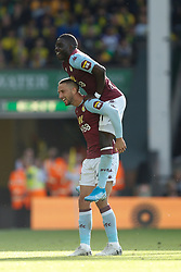 Conor Hourihane of Aston Villa scores and celebrates - Mandatory by-line: Phil Chaplin/JMP - 05/10/2019 - FOOTBALL - Carrow Road - Norwich, England - Norwich City v Aston Villa - Premier League