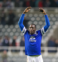 25.03.2014, St. James Park, Newcastle, ENG, Premier League, Newcastle United vs FC Everton, 28. Runde, im Bild Everton's goal-scorer Romelu Lukaku celebrates after his side's 3-0 victory over Newcastle United // during the English Premier League 28th round match between Newcastle United and Everton FC at the St. James Park in Newcastle, Great Britain on 2014/03/25. EXPA Pictures &copy; 2014, PhotoCredit: EXPA/ Propagandaphoto/ David Rawcliffe<br /> <br /> *****ATTENTION - OUT of ENG, GBR*****