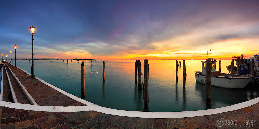 A glorious sunset over the Venetian lagoon. Taken from the harbour of Burano one night at the beginning of December. This is a pano from 7 vertical frames
