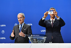 NYON, SWITZERLAND - Friday, July 10, 2020: Former Juventus and Borussia Dortmund player Paulo Sousa draws out the card of Atletico Madrid during the UEFA Champions League and UEFA Europa League 2019/20 draws for the Quarter-final, Semi-final and Final at the UEFA headquarters, The House of European Football. (Photo Handout/UEFA)