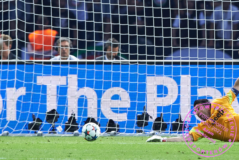 Goalkeeper Gianluigi Buffon from Juventus saves  during the 2014/15 UEFA Champions League Final between Juventus and FC Barcelona at Olympiastadion on June 6, 2015 in Berlin, Germany.<br /> Germany, Berlin, June 6, 2015<br /> <br /> Picture also available in RAW (NEF) or TIFF format on special request.<br /> <br /> For editorial use only. Any commercial or promotional use requires permission.<br /> <br /> Adam Nurkiewicz declares that he has no rights to the image of people at the photographs of his authorship.<br /> <br /> Mandatory credit:<br /> Photo by &copy; Adam Nurkiewicz / Mediasport