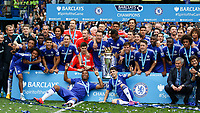 Football - 2014 / 2015 Premier League - Chelsea vs. Sunderland.   <br /> <br /> Chelsea players celebrate lifting the Premier League trophy at Stamford Bridge<br /> <br /> COLORSPORT/DANIEL BEARHAM