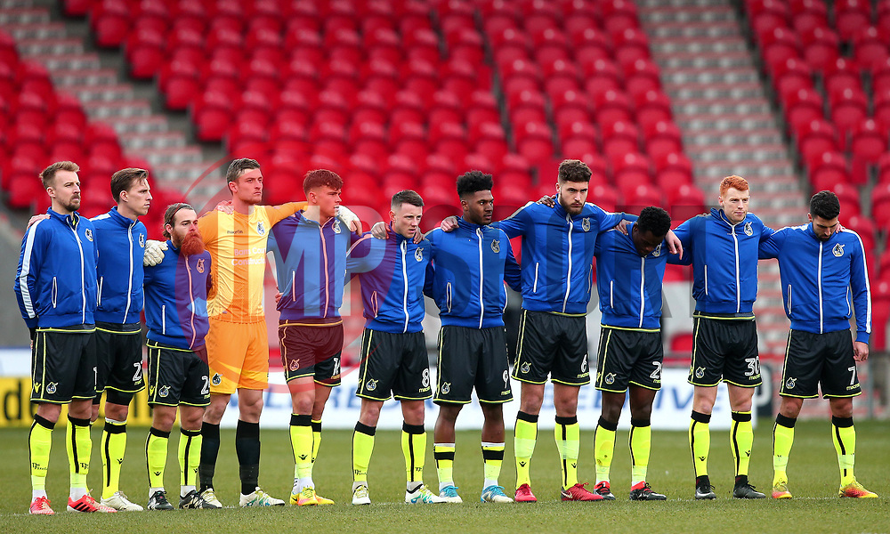 Bristol Rovers observe a minutes silence for the deaths of Cyrille Regis, Jimmy Armfield and Patrick Cryne - Mandatory by-line: Robbie Stephenson/JMP - 27/01/2018 - FOOTBALL - The Keepmoat Stadium - Doncaster, England - Doncaster Rovers v Bristol Rovers - Sky Bet League One