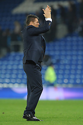 Bristol City manager, Steve Cotterill applauds the away supporters after the game - Mandatory byline: Dougie Allward/JMP - 07966 386802 - 26/10/2015 - FOOTBALL - Cardiff City Stadium - Cardiff, Wales - Cardiff City v Bristol City - Sky Bet Championship