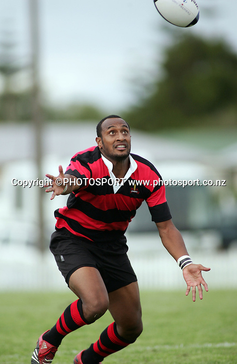 Otahuhu wing Joe Rokocoko keeps his eye on the ball during the Auckland club rugby match between Waitemata and Otahuhu at Waitemata, on Saturday 31 March 2007. Waitemata won the match 17-8. Photo: Renee McKay/PHOTOSPORT<br /><br /><br />310307