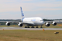 Airbus A380, Farnborough International Airshow, Farnborough Airport UK, 18 July 2014, Photo by Richard Goldschmidt