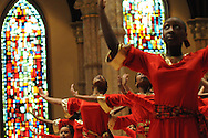 "Chicago Catholic Schools liturgical dancers celebrate the 33rd Annual African American Heritage Month Eucharistic Celebration at Holy Name Cathedral. This year's mass celebrates the the Nguzo Saba principle of Kuumba, or ""creativity"" at Holy Name Cathedral."