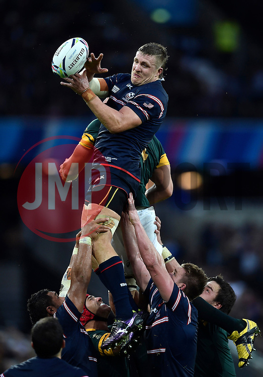 Louis Stanfill of the USA wins the ball at a lineout - Mandatory byline: Patrick Khachfe/JMP - 07966 386802 - 07/10/2015 - RUGBY UNION - The Stadium, Queen Elizabeth Olympic Park - London, England - South Africa v USA - Rugby World Cup 2015 Pool B.