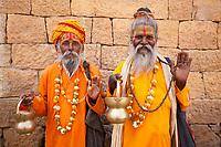 jain priest welcoming saluting in jaisalmer in rajasthan state in india