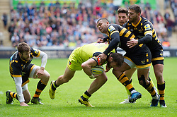 Adam Thompstone of Leicester Tigers takes on the Wasps defence - Mandatory byline: Patrick Khachfe/JMP - 07966 386802 - 20/05/2017 - RUGBY UNION - Ricoh Arena - Coventry, England - Wasps v Leicester Tigers - Aviva Premiership Semi Final.