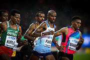 Mo Farah takes part in the 5000 metre men's heat at the 2017 IAAF World Athletics Championships at the Queen Elizabeth Olympic Stadium in London, England, on August 9, 2017. Farah went on to qualify for the final where he won silver in one of his final track events.