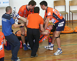Alen Pajenk of ACH Volley injured his leg at 4th and final match of Slovenian Voleyball  Championship  between OK Salonit Anhovo (Kanal) and ACH Volley (from Bled), on April 23, 2008, in Kanal, Slovenia. The match was won by ACH Volley (3:1) and it became Slovenian Championship Winner. (Photo by Vid Ponikvar / Sportal Images)/ Sportida)