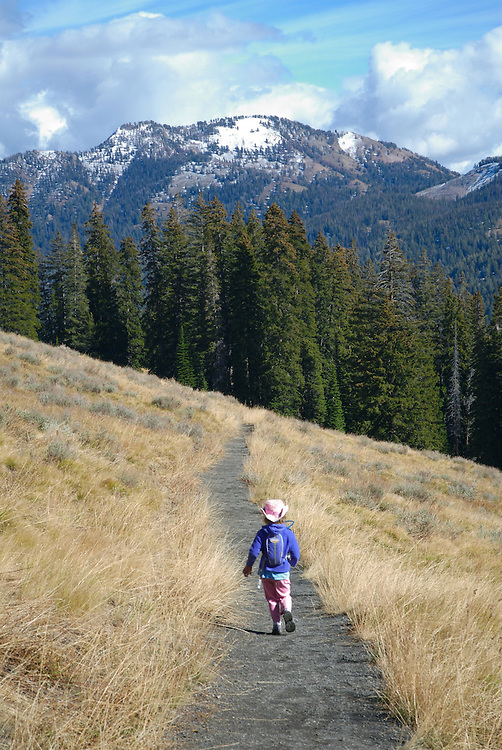 IDAHO. Little Girl Hiking. Ketchum Sun Valley. Fall. MR