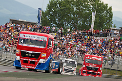 07.07.2013, Red Bull Ring, Spielberg, AUT, Truck Race Trophy, Renntag 2, im Bild Markus Oestreich, (GER, Truck Sport Lutz Bernau, #4, 1. Platz), Antonio Albacete, (ESP, Equipo Cepsa, #2, 2. Platz), Norbert Kiss, (HUN, Oxxo Energy Truck Race Team, #10, 3. Platz) // during the Truck Race Trophy 2013 at the Red Bull Ring in Spielberg, Austria, 2013/07/07, EXPA Pictures © 2013, PhotoCredit: EXPA/ M.Kuhnke
