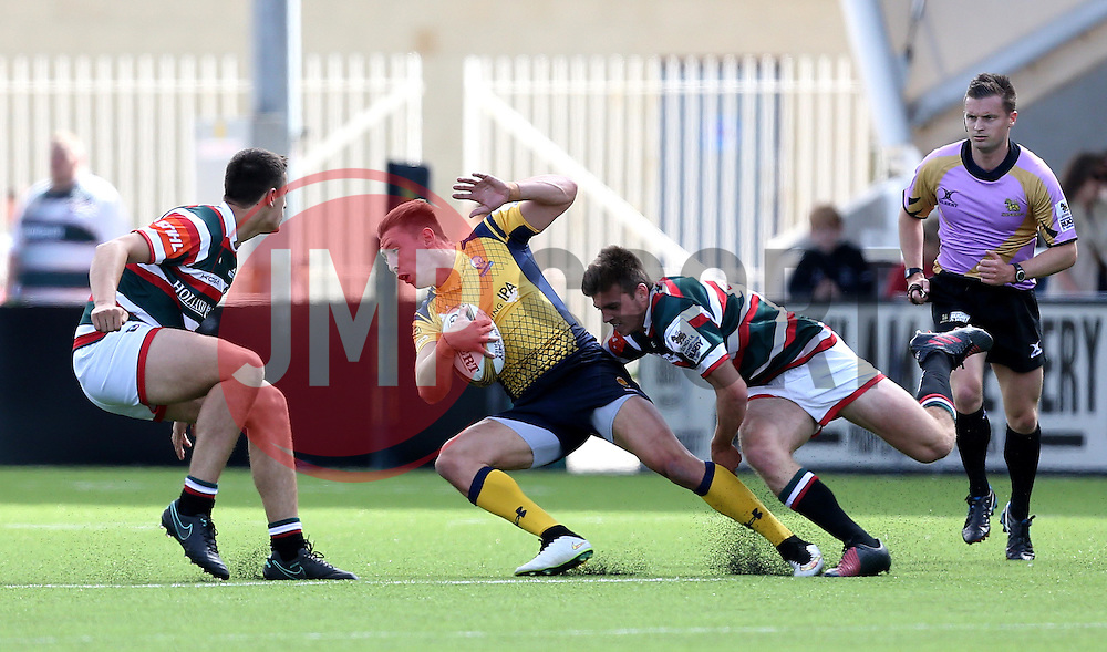 Josh Adams of Worcester Warriors is tackled - Mandatory by-line: Robbie Stephenson/JMP - 30/07/2016 - RUGBY - Kingston Park - Newcastle, England - Worcester Warriors v Leicester Tigers - Singha Premiership 7s