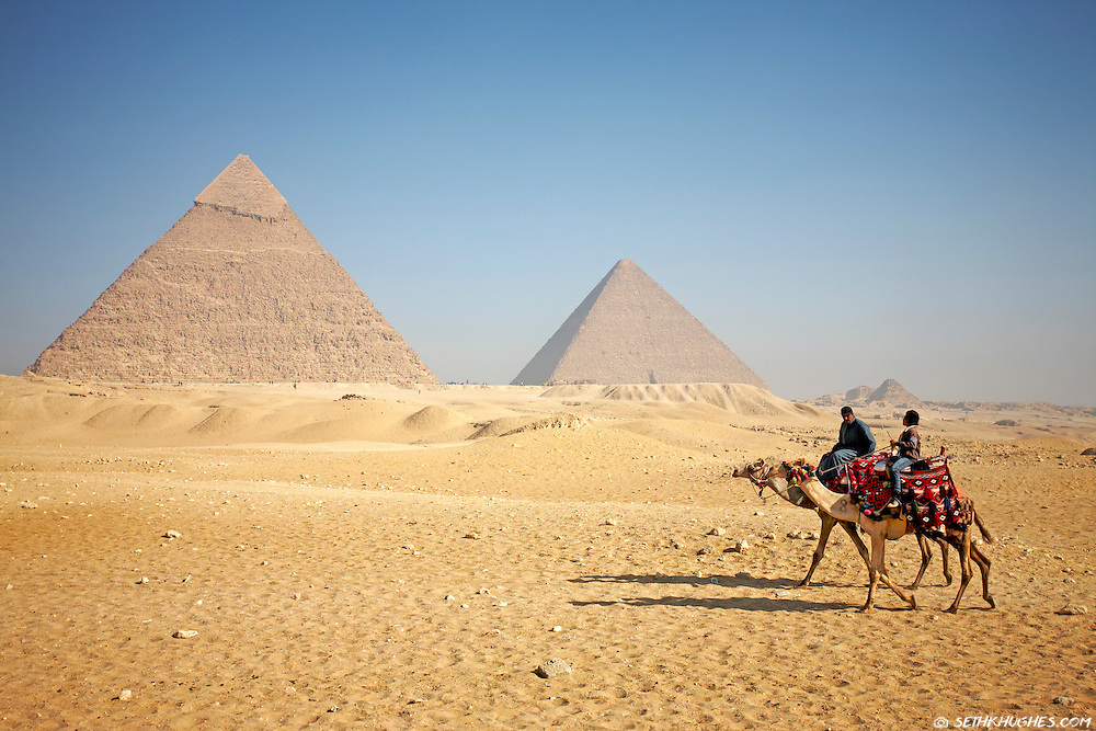 Local Egyptians ride camels across the Giza Plateau with the Giza pyramids in the background. Giza, Egypt. March 3, 2009
