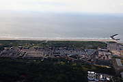 Nederland, Zuid-Holland, Den Haag, 15-07-2012; Scheveningen - Westduinen, Duindorp, ten zuiden van de haven. Rechts onder in beeld de rioolwater zuiveringinstallatie. .The beach and North Sea of Scheveningen near The Hague..luchtfoto (toeslag), aerial photo (additional fee required).foto/photo Siebe Swart