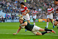 Adriaan Strauss of South Africa dives for the try-line - Mandatory byline: Patrick Khachfe/JMP - 07966 386802 - 19/09/2015 - RUGBY UNION - Brighton Community Stadium - Brighton, England - South Africa v Japan - Rugby World Cup 2015 Pool B.