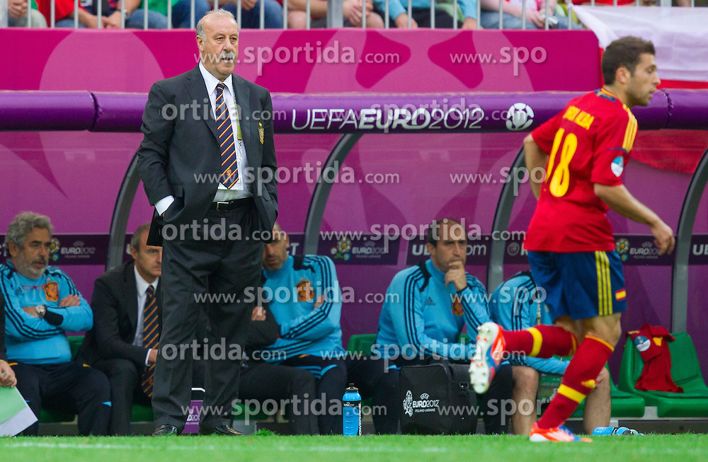 Vicente del Bosque, head coach of Spain during the UEFA EURO 2012 group C match between Spain and Italy at The Arena Gdansk on June 10, 2012 in Gdansk, Poland.  (Photo by Vid Ponikvar / Sportida.com)