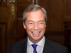 "Westminster, London, March 27th 2017. Ahead of the Prime Minister triggering Article 50 next week, UKIP Leader Paul Nuttall sets out six key tests by which the country can judge Theresa May's Brexit negotiations in a keynote speech in London. PICTURED: Nigel Farage attended the event insisting ""I'm just a visitor"". CREDIT: ©Paul Davey<br /> <br /> ©Paul Davey<br /> FOR LICENCING CONTACT: Paul Davey +44 (0) 7966 016 296 paul@pauldaveycreative.co.uk"